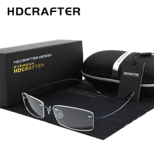 إطار نظارة بدون إطار من التيتانيوم خفيف الوزن للرجال HDCRAFTER إطار نظارات بدون إطار وصفة طبية للنساء إطارات بدون إطار
