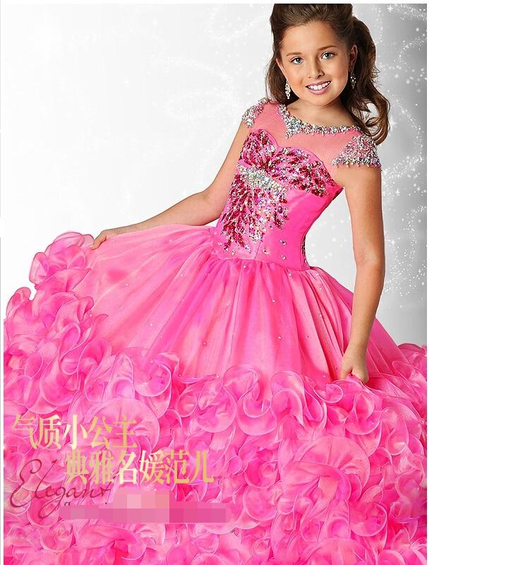 Kids Dresser Senior Princess Evening Party Prom Girl Blue Pink Long ...