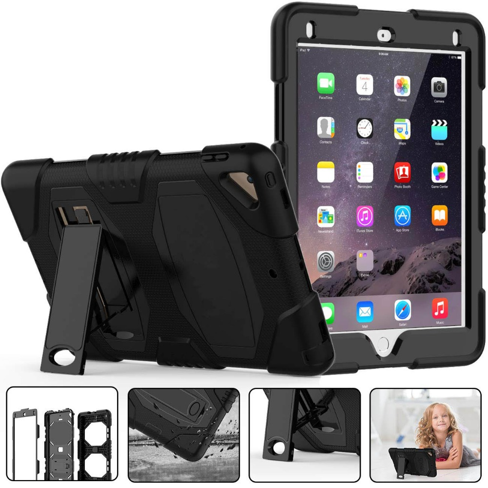 For IPad 5th 6th Generation Case Heavy Duty Protection Silicone PC Kickstand Case Cover For IPad 9.7 Inch 2017 2018 IPad Air 2