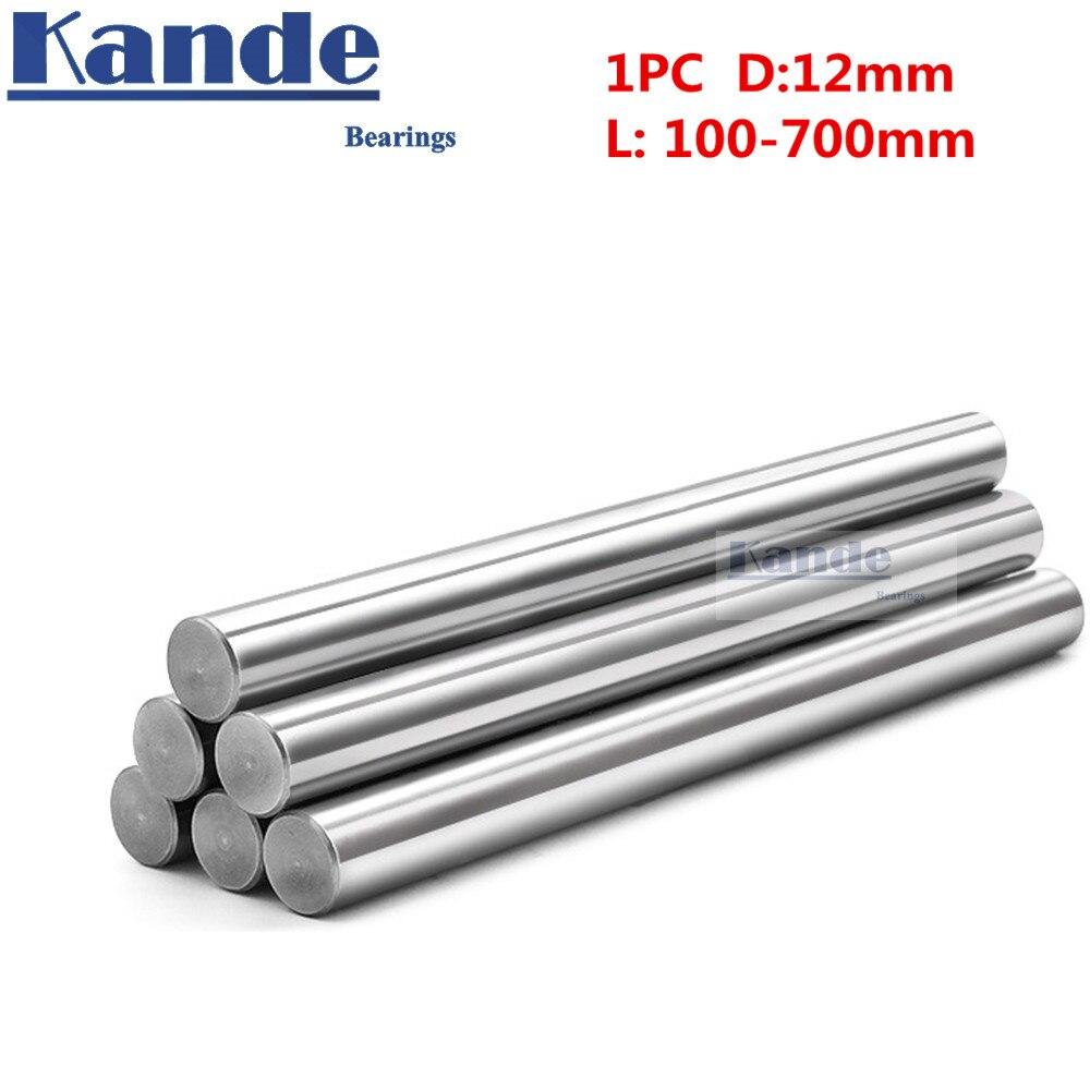 1pc d: 12mm 100-600mm 3d impressora haste eixo 12mm eixo linear cromado haste eixo cnc peças kande