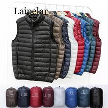 цена на Laipelar Winter New Men White Duck Down Vest Ultralight Sleeveless Vest Jacket Fashion Stand Collar Men Large Size Loose Vest