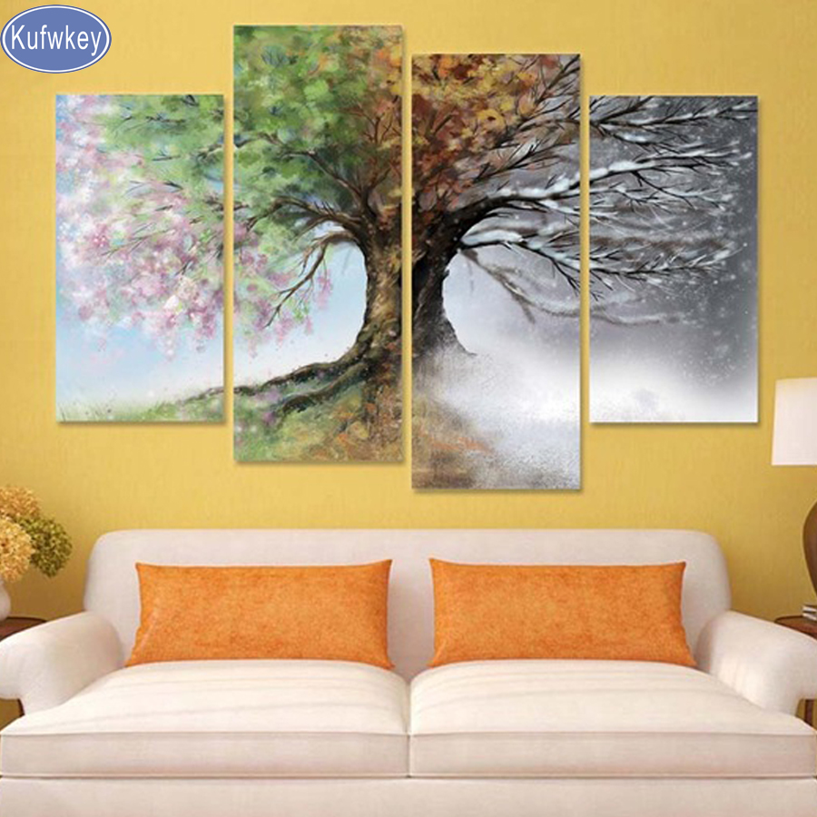 diamond painting 4 pcs full square cross stitch 3d pictures diamond embroidery Four Season Tree diamond mosaic home Decoration-in Diamond Painting Cross Stitch from Home & Garden    1