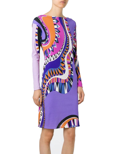 f45ad4fd070 2015 Осень люксовых брендов Джерси шелковое платье Для женщин с длинным  рукавом Очаровательная геометрический принт спандекс