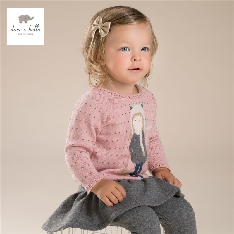 DB3977 dave bella autumn baby girl pink sweater toddler sweaters infant clothes girls jacquard sweater цена 2017