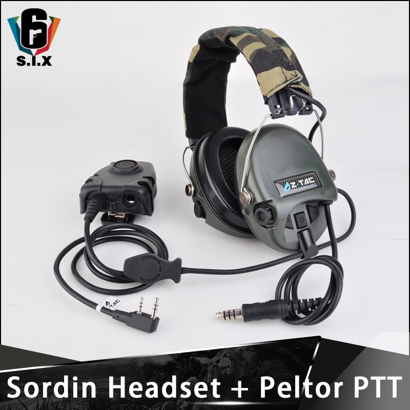 Z TAC tactical Aviation zsordin Headset Airsoft Sordin Headphones Peltor PTT Midland Softair Shooting Accessories Z111