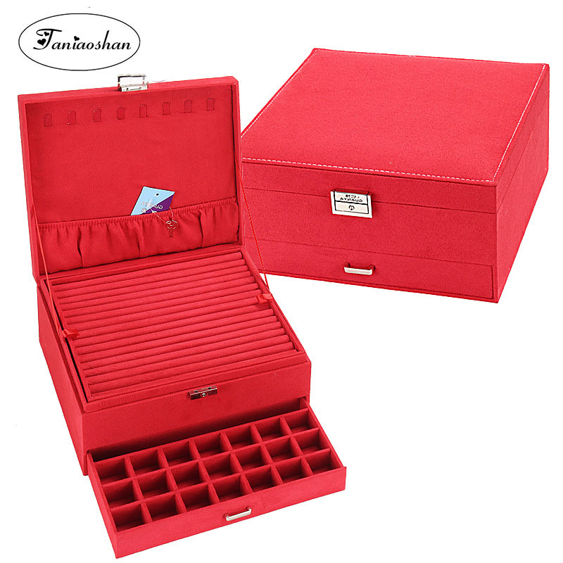 Big size jewelry box Luxury flannel jewelry display Earrings necklace storage casket 4 color ring box