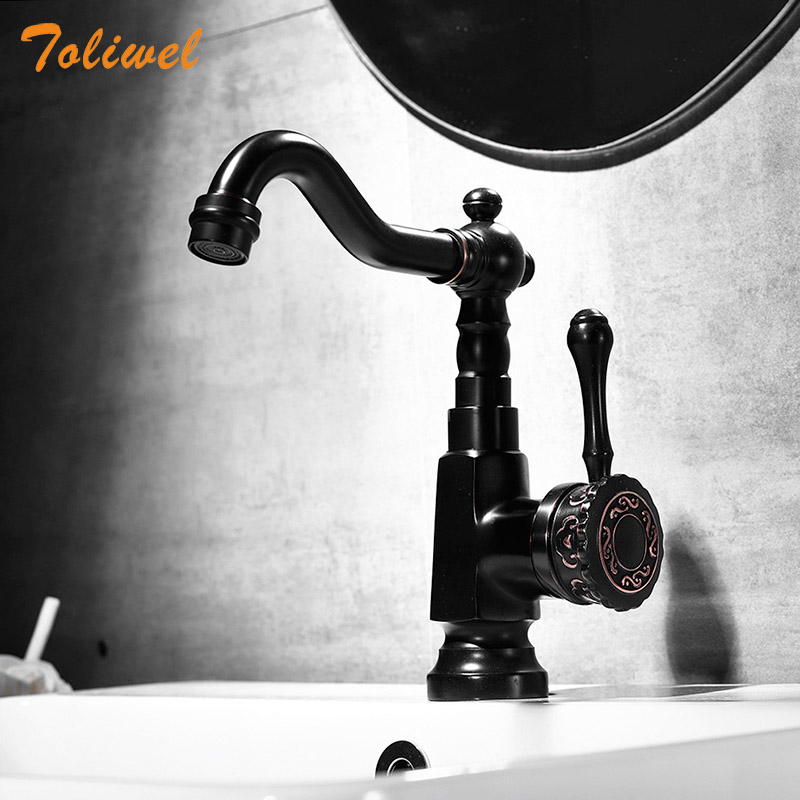 Black Bathroom Faucet Brass Basin Mixer Bathroom Accessories Tap Bathroom Sink Basin Mixer Tap Vintage Single Hole Basin faucet