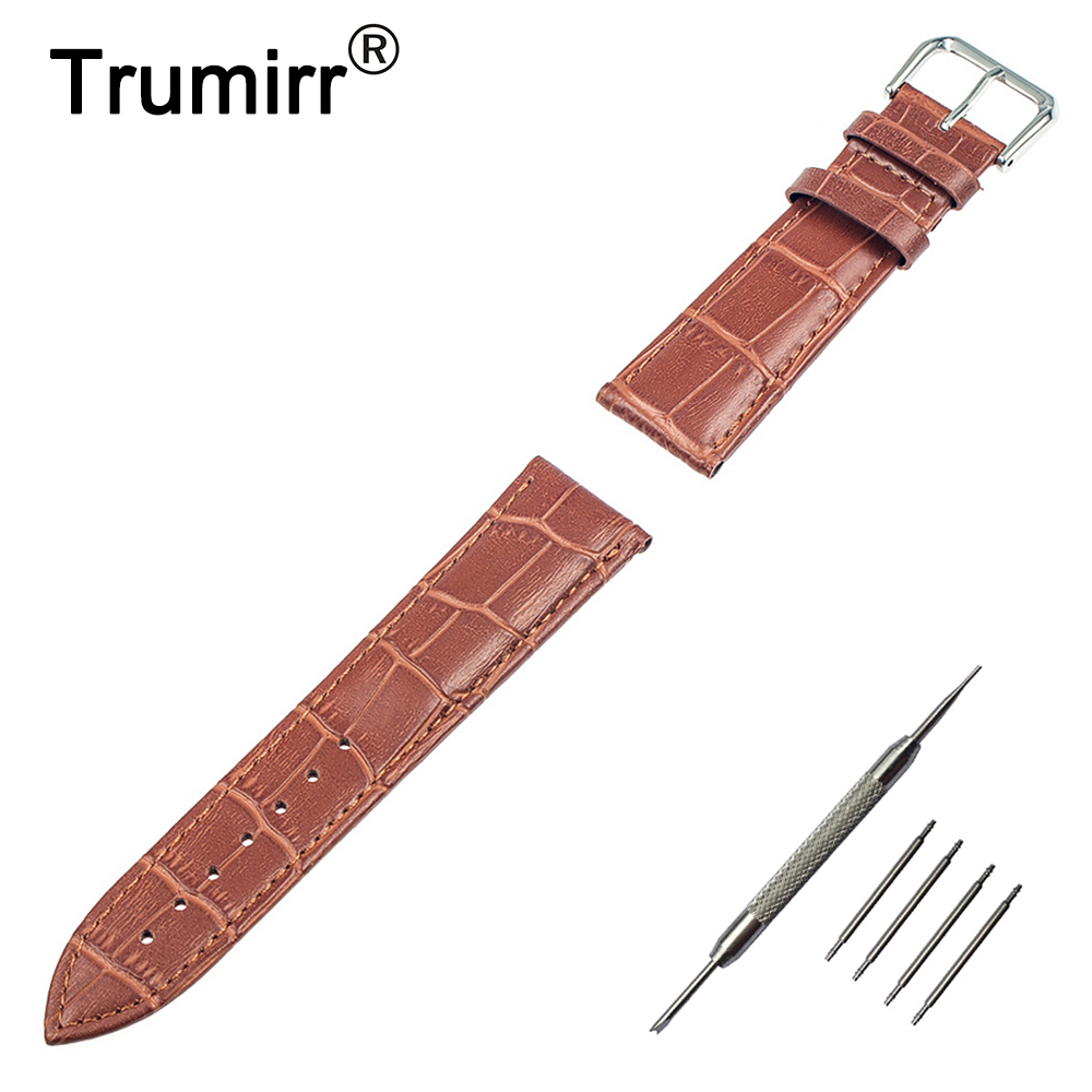 цена на 22mm Genuine Leather Watch Band for ASUS Zenwatch 1 2 LG G Watch W100 W110 W150 Pebble Time / Steel Replacement Strap Bracelet