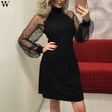 Elegant Womens Dress 2018 Autumn Pearl Beading Mesh Sleeve Tunic Dress Black Pink Blue Long Sleeve A-Line Mini Party Dress Dec12(China)