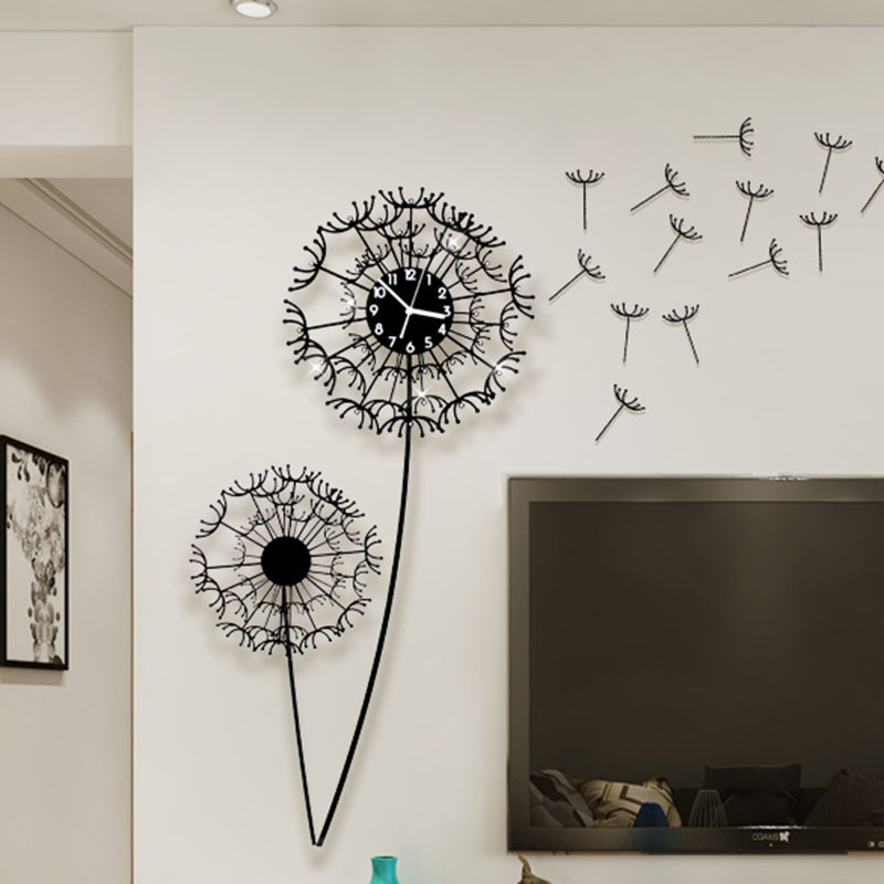 3d Wall Clock Sticker Dandelion Flower Watch Home Decor Diy Living Room Saat Clocks Duvar Saati Home Decoration Accessories