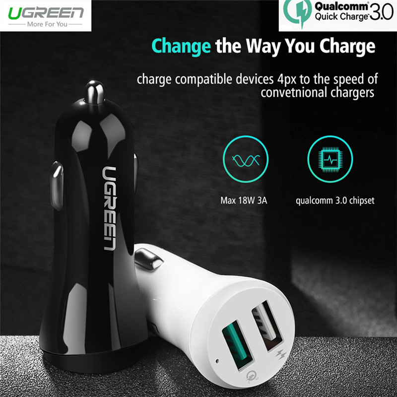 Ugreen 5V 3A Quick Charge 3.0 USB Car Phone Charger For Samsung S8 S7 S6 Edge Qualcomm QC3.0 Auto Adapter For Xiaomi Mi5 Mi6 LG