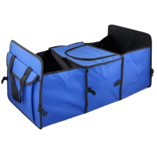 Blue 2 In1 Car Boot Organiser Shopping Tidy Heavy Duty Collapsible Storage
