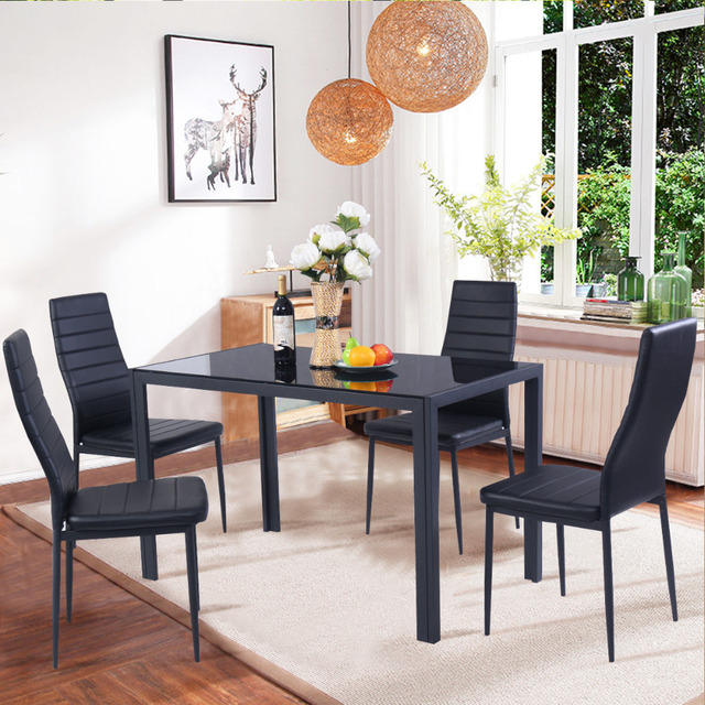 Goplus 5 Piece Kitchen Dining Set Glass Metal Table and 4 Chairs Set ...