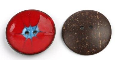 Цветная круглая Кокосовая декоративная кнопка, большая Деревянная пряжка, сделай сам, пальто для одежды, Кокосовая оболочка, клеевая кнопка, Детская Кнопка 63 мм - Цвет: 24