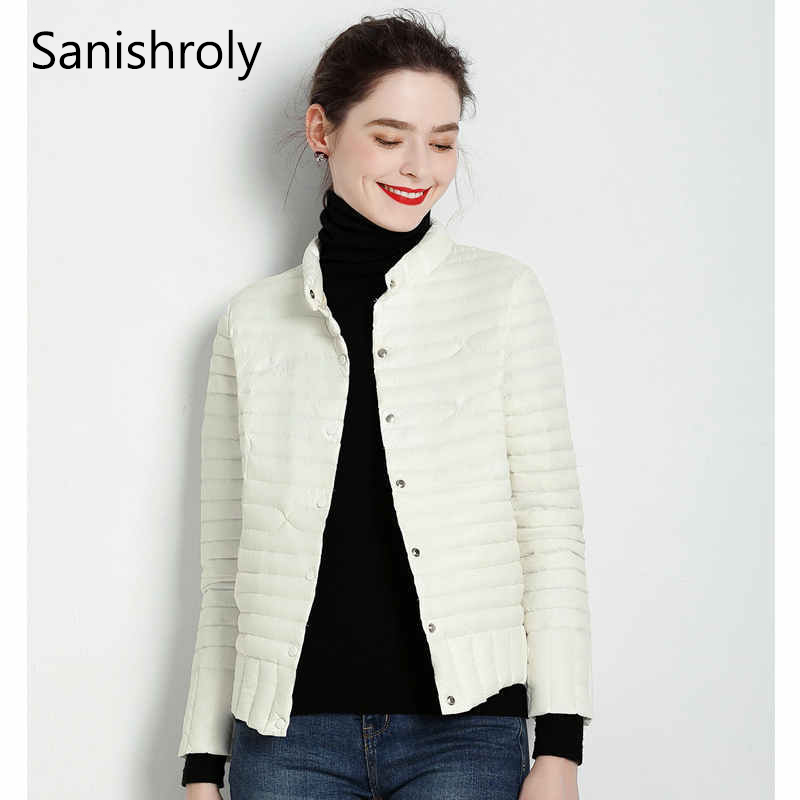 Sanishroly New Autumn Winter Women Short   Coat   Tops Ultra Light   Down     Coat   Parka Female Slim White Duck   Down   Jacket Plus Size S677