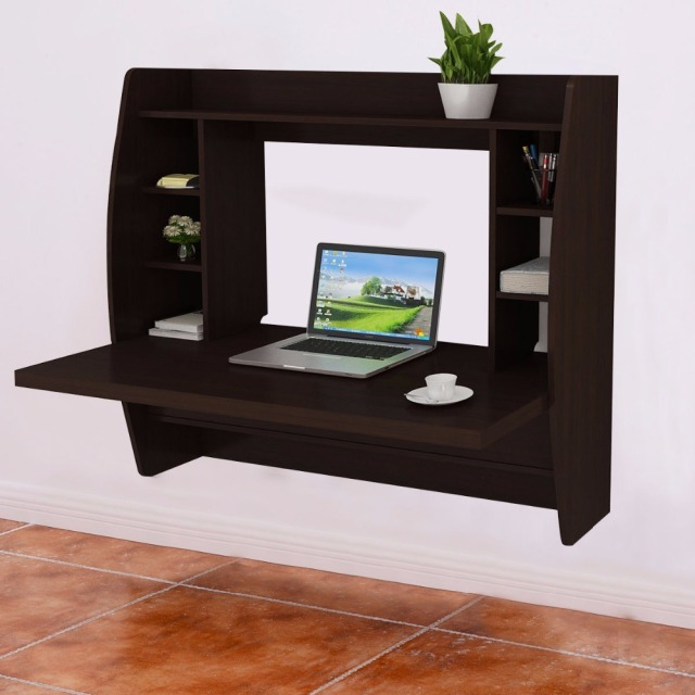 Goplus Living Room Wall Mount Floating Cabinet Modern Computer Desk TV  Stand With Shelf Home Office