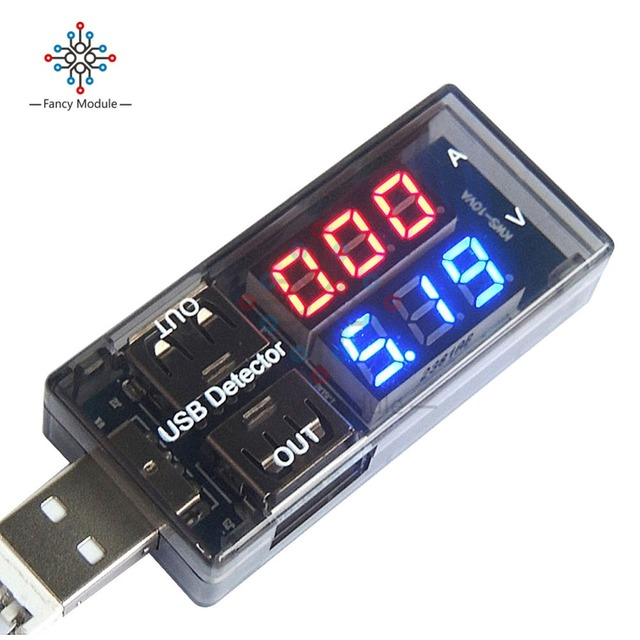 Détecteur de charge de courant de tension USB voltmètre de courant de puissance Mobile ampèremètre de tension testeur de chargeur USB Double rangée montre le compteur