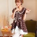 Princesa vestido lolita doce Boneca collar lace floral marrom café com arco pin ball vestido one-piece vestido bonito manga lanterna