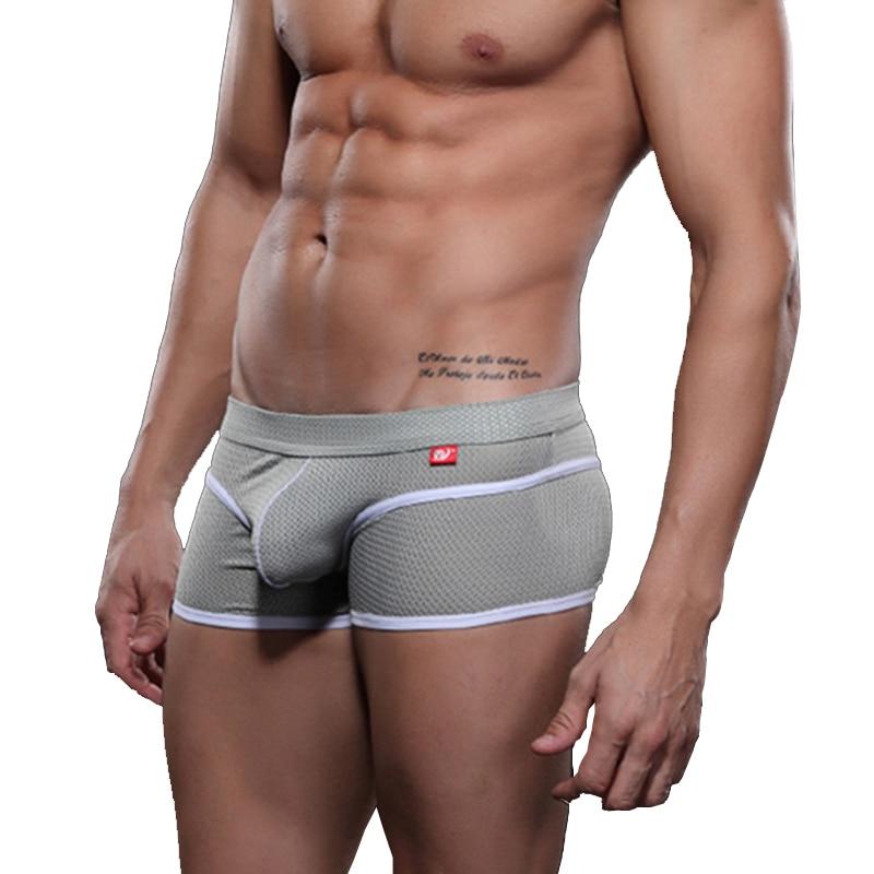 WJ Mesh Men Boxer Shorts Underwear Pouch Penis Bulge Men's Transparent Panties Breathable Nylon Swimming Trunks Male Underpants