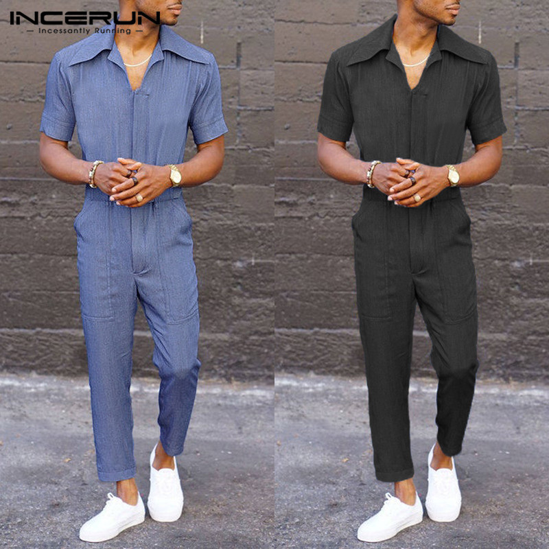 INCERUN Stylish Men Jumpsuit Rompers Joggers Solid Color Baggy Shortsleeve Pants Casual Men Cargo Overalls Streetwear 2019 S-5XL