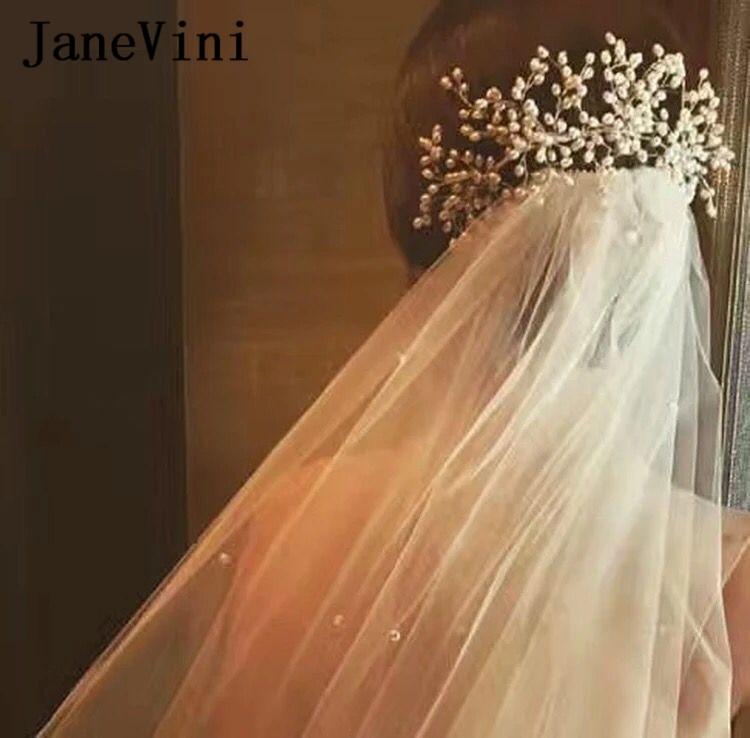 JaneVini 2018 Pearls Flowers Wedding Hair Accessories Bridal Headpieces Handmade Bride Headband Set Haaraccessoires Bruid