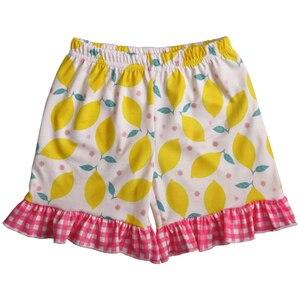 Image 4 - أحدث نمط طفل الفتيات مجموعة ملابس الليمون أكمام اللباس مع الكشكشة السراويل بوتيك الاطفال الصيف مجموعات 2GK904 1200 HY