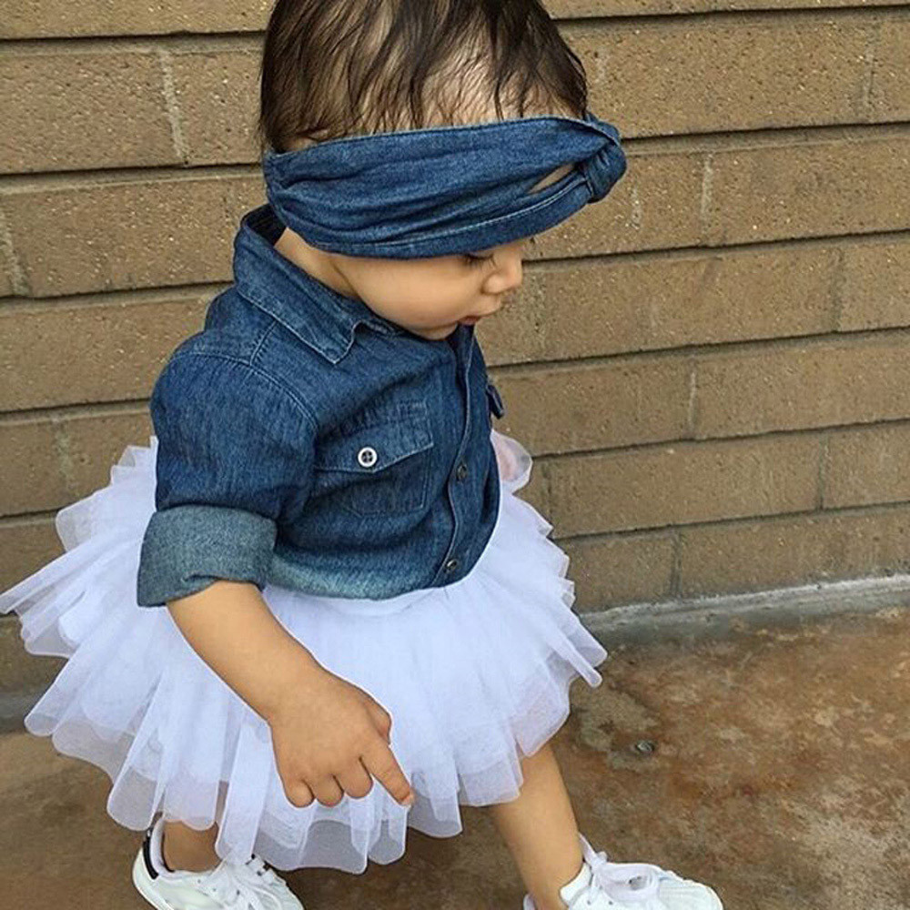 177690a1d CHAMSGEND Toddler Kids Baby Girls long sleeve Denim Tops T shirt+yarn skirt  + hair band suit 3Pcs Outfits Set Clothes june28 P30-in Clothing Sets from  ...