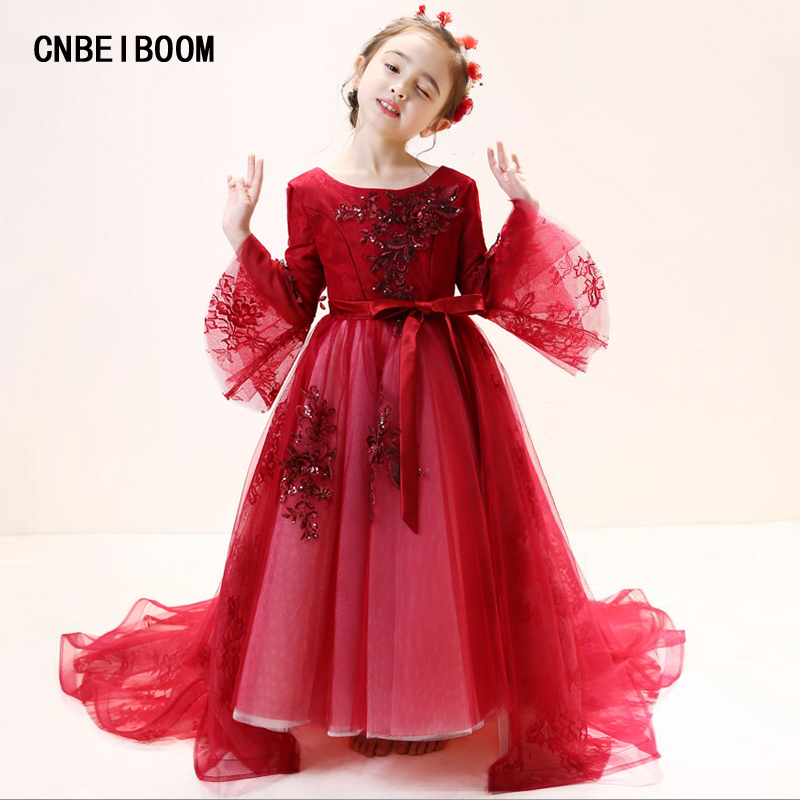 Little flower girls dresses for weddings Wine red Baby Party frocks Children images Dress kids prom dresses evening gowns 2018