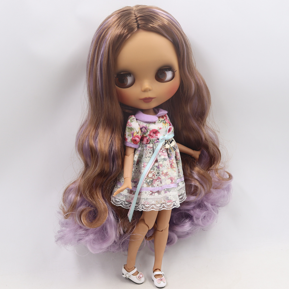 ICY Nude Blyth doll No BL9158 1049 Brown mix Purple hair without bangs JOINT body Black
