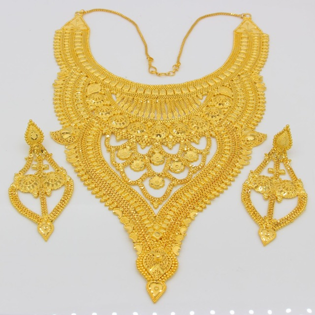 Adixyn NEW Dubai Necklace&Earrings Jewelry Set for Women Gold Color & Copper African/Arab/Middle East Wedding/Party Gifts