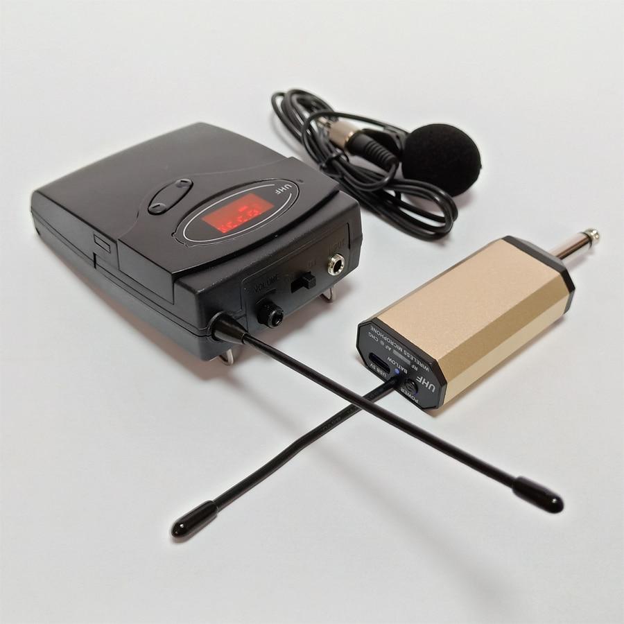 Système sans fil Portable de microphone de collier de lavalier de karaoké système de clip de guide touristique rechargeable d'uhf bon pour l'usage extérieur-in Microphones from Electronique    2