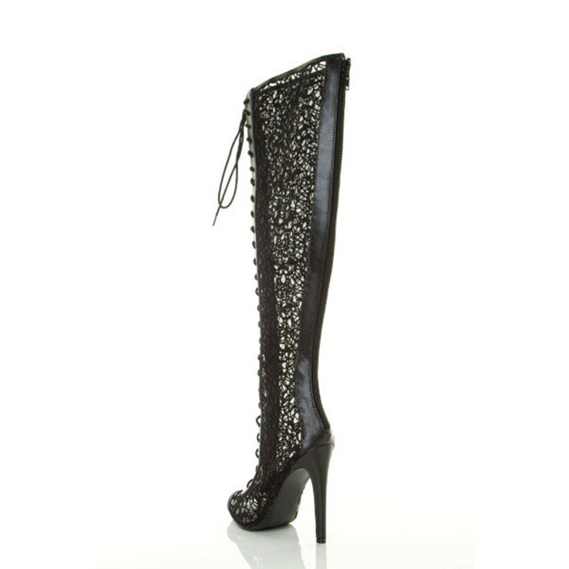 black_stiletto_heel_peep_toe_lace_knee_high_lace_up_summer_boots