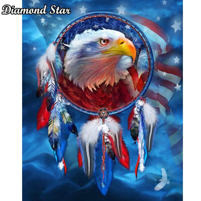 5D Diamond Painting Kit Set Full Drill Cuadros Broderie Cross stitch Eagle Flag