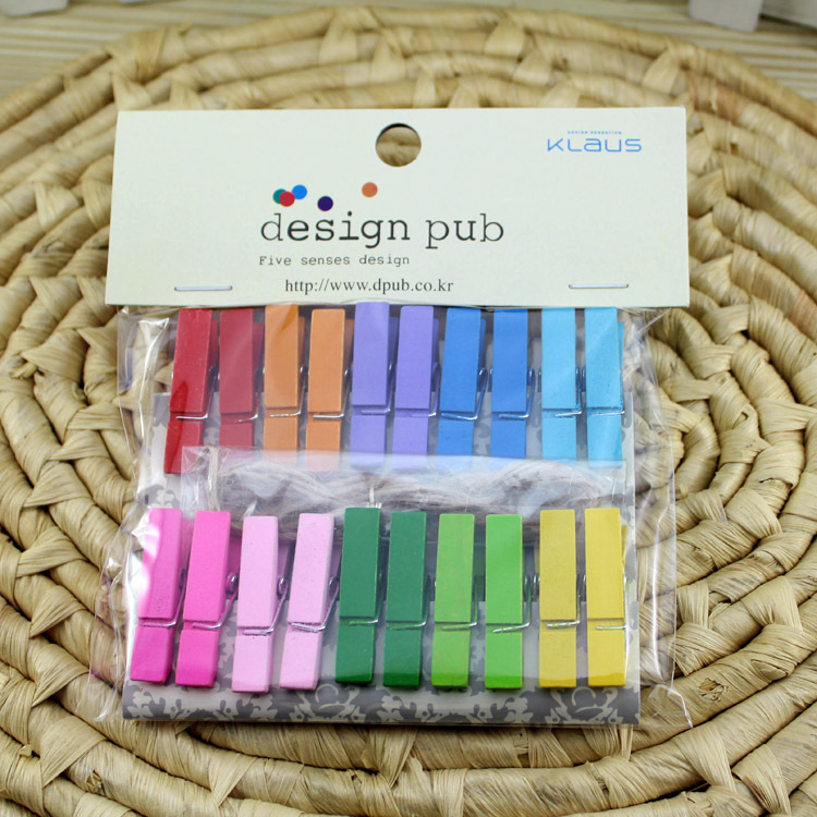 Us 1 11 10 Off 20pcs Cute Colorful Blusas Pegs Mini Small Wooden Clip Set With Hemp String Office Accessories Photo Decoration 35x7mm Pc In Wood Diy