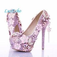 Модные фешенебельные туфли розового цвета с цветочным узором и кристаллами ультравысокие туфли для невесты туфли на платформе с круглым но...