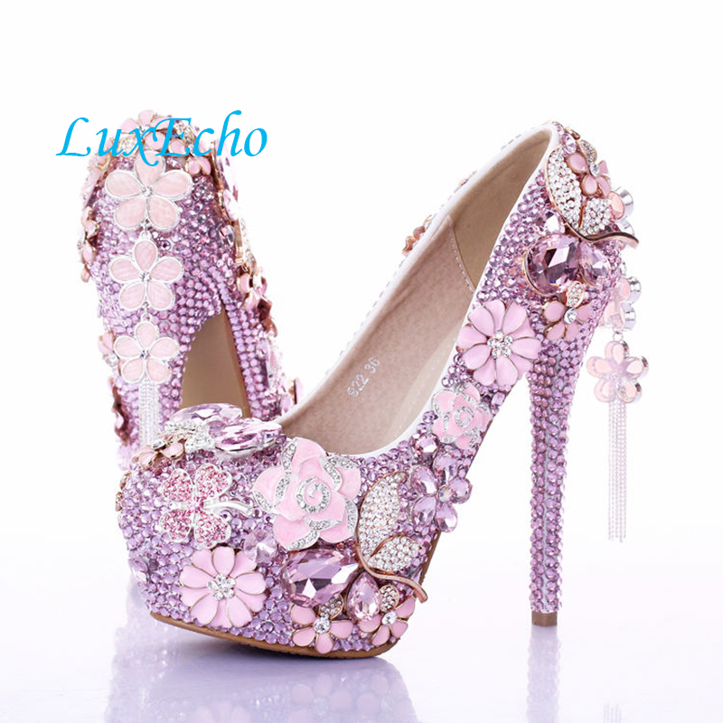 Fashion luxury Pink flower crystal shoes bridal ultra high heels shoes thin heels round toe platform shoes tassel shoes cinderella high heels crystal wedding shoes 14cm thin heel rhinestone bridal shoes round toe formal occasion prom shoes