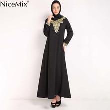 NiceMix Embroidered Muslim Women Dress Long Arabic Plus Size Abaya Womens Clothing Ladies Jilbab Modern Musli
