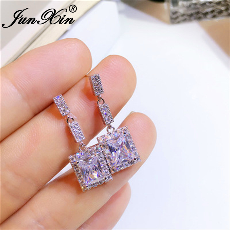JUNXIN Cute Crystal Square Drop Earrings For Women Silver Color Vintage White Zircon Stone Dangle Earrings Wedding Jewelry