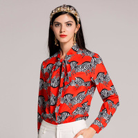 High quality 2018 spring/Summer fashion designer Blouses Women long sleeve vintage zebra print red bow collar shirt