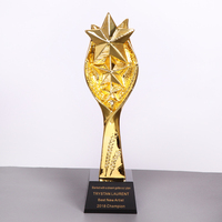 Customized Star Trophy Gold Resin Free Engraved Personalized Words on The Base for Company School Competition Sport Awards Cup