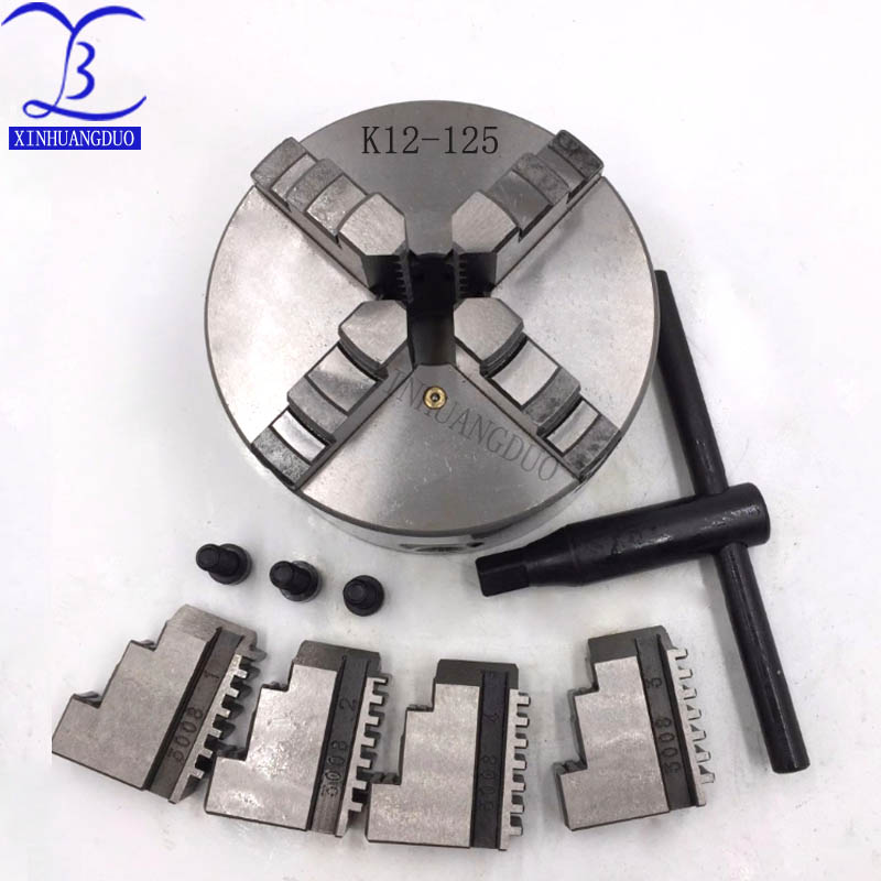 4 Jaw 5'' Lathe Chuck 125mm 4Jaw Self-centering Four Jaw Hardened Steel Plain Back CNC Lathe Metalworking for Drilling Milling M
