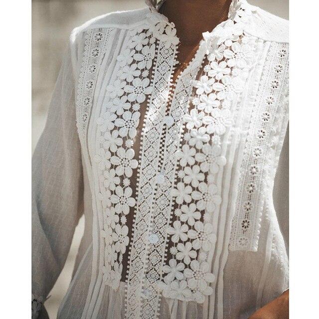 Femmes Manches Longues Bohème Floral Dentelle hauts blancs Blouses évider Plage Élégant Chemise harajuku femme Vêtements Dété hauts fête W3