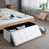 Samincom Classics Foldable Tufted Storage Ottoman Bench Home Stool 43.3L x 15W x 14.17H Beige Black Brown White Ottoman