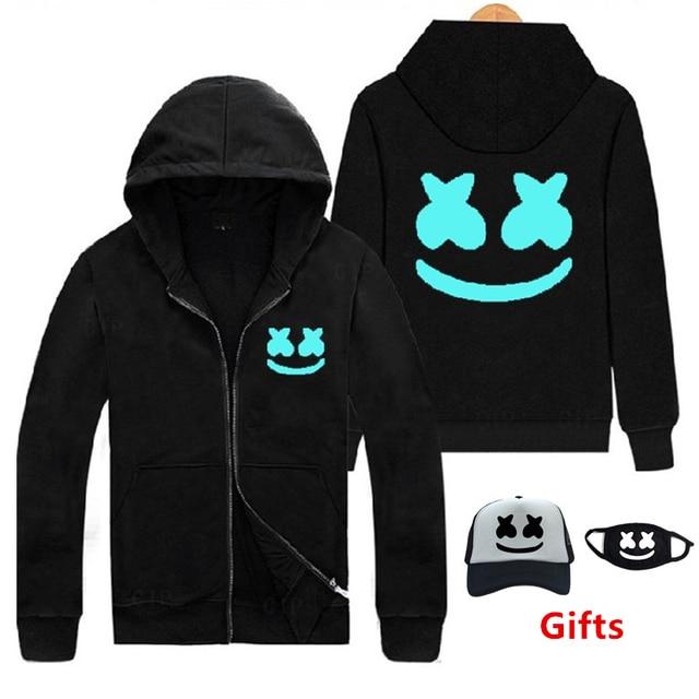 Kap & Maske Hediye olarak parıltılı ışıltı koyu Marshmello hoodies sweatshirt hip hop Rapçi Bboy DJ dansçı eşofman kapşonlu ceket