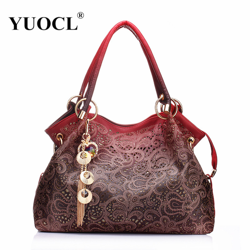 YUOCL Hollow Out Large Leather Tote Bag 2017 Luxury Women Shoulder bags, Fashion Women Bag Brand Handbag Bolsa Feminina