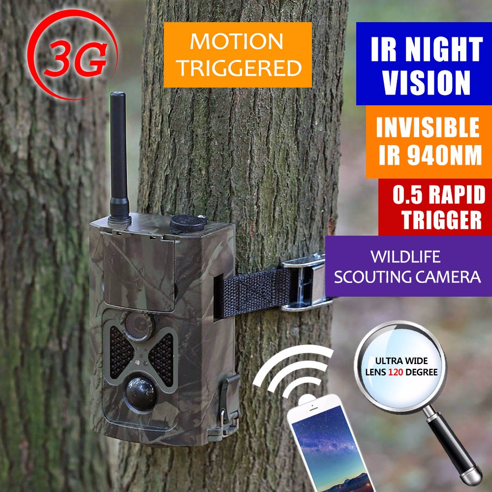3G Trail Camera 16 Megapixel GPRS MMS Hunting Camera 3G 0.5S Trigger Deer Trail Camera WCDMA 48 leds Free Shipping free shipping ltl acorn 5310wmg trail hunting camera mms gprs free 8gb sd card 6v solar battery metal security box