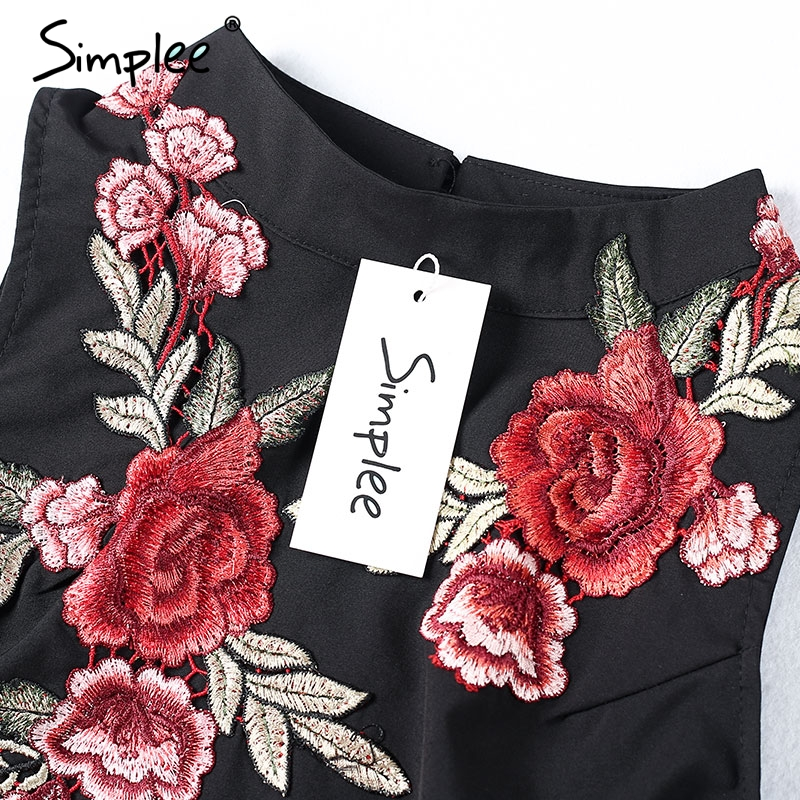 62b1ef729eda Simplee Flower embroidery women dress Sleeveless halter evening sexy dress  Winter new pleated backless party short dresses-in Dresses from Women's  Clothing ...