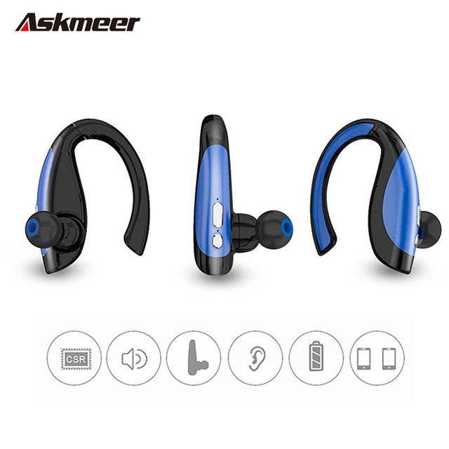 Askmeer X16 Ear Hook Bluetooth Earphones Driver Blue Tooth Handsfree Stereo Headset Wireless Business Earbuds With Mic For Phone