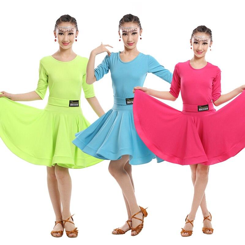 c8759ab3a Vestido de baile latino verde azul para niñas, vestido de baile de salón  para baile de Salsa, trajes de fiesta para niños, trajes de escenario, de  manga ...