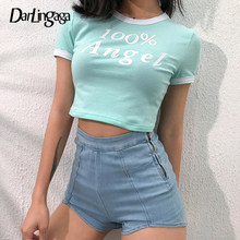 Darlingaga Cotton Casual Cropped Tshirt Angel Bodycon Short Sleeve Letter Print Ringer Tee Women's T-shirts Summer Crop Top 2019(China)